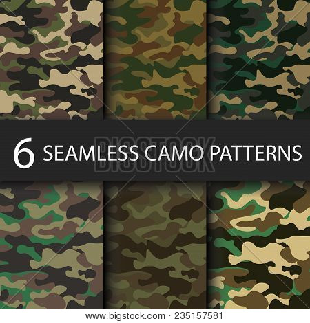 Set Of 6 Pack Camouflage Seamless Patterns Background With Black Shadow. Classic Clothing Style Mask