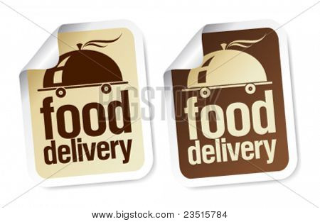 Food delivery stickers set.