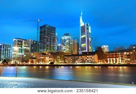 Frankfurt, Germany on March17,2018-Illuminated night view of Frankfurt  am Main.