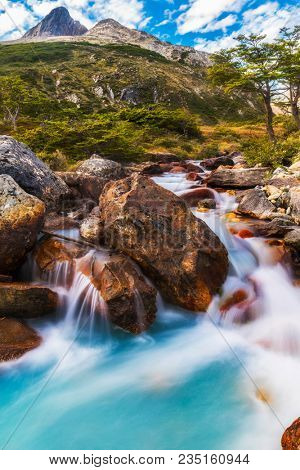 Beautiful long exposure picture of brook on a trail to Laguna Esmeralda near Ushuaia in Tierra del Fuego, Argentina