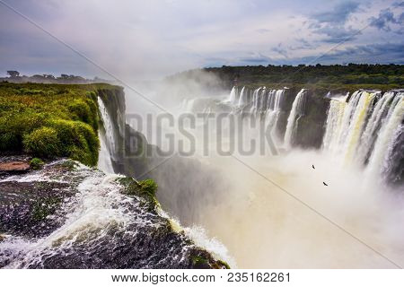 The most full-flowing waterfall in the world on the Parana River. The Devil's throat /Garganta del Diablo/. Concept of active and extreme tourism