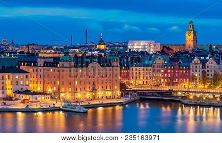 Stockholm, Sweden - October 24, 2017: Sunset Panoramic View Across Lake Malaren Onto Storkyrkan Or S