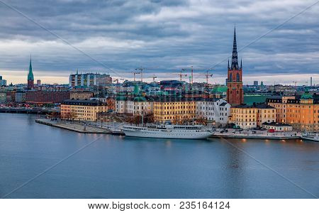 Stockholm, Sweden - October 24, 2017: Panoramic View Across Lake Malaren Onto Traditional Gothic Bui