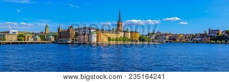 Stockholm, Sweden - August 17, 2017: Panoramic View Across Lake Malaren Onto Traditional Gothic Buil