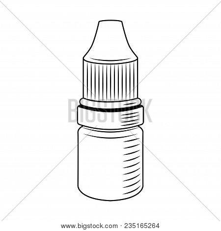 Eye Drop Bottle. Medical Bottle For Eyes. Vector Illustration. Medicament Badge.