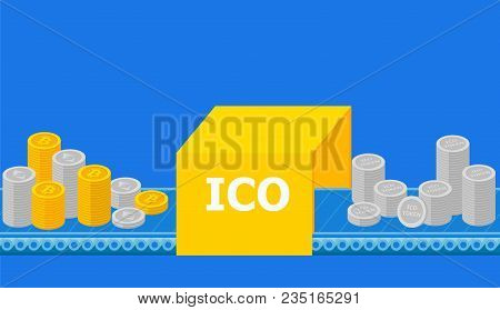 Initial Coin Offering, Ico Token Production Process Research, Investments Cryptocurrency. Token Sale