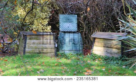 Different Types Of Composter In Wood Or Plastic In A Garden