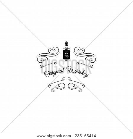 Whiskey Bottle, Glass. Scotch. Alcohol Drink. Swirls, Decoration Bar Pub Design Vector Illustration