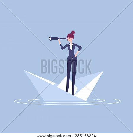 Young Businesswoman Floating On A Paper Boat And Looking At Spyglass Vector Flat Illustration. Femal