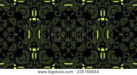 Black Yellow Seamless Techno Lines Pattern. Futuristic Geometry Background. Laser Technical Design T