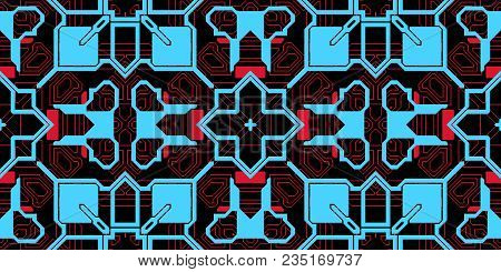 Blue Pink Seamless Techno Lines Pattern. Futuristic Geometry Background. Laser Technical Design Text