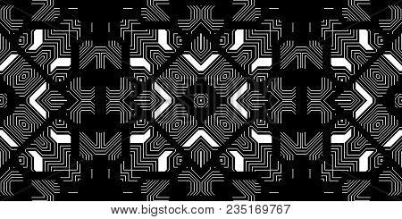 Black & White Seamless Techno Lines Pattern. Monochrome Futuristic Geometry Background. Laser Techni