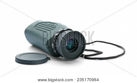 Military Monocular On White Background, Close Up