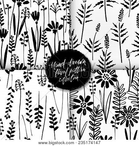 Vector Seamless Pattern Set Of Ink Drawing Wild Plants, Herbs, Monochrome Botanical Illustration, Fl