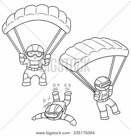 Vector Set Of Parachuter Hand Drawn Cartoon