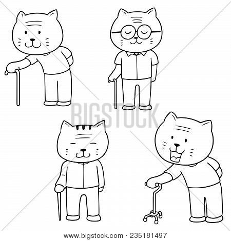 Vector Set Of Elder Cat With Cane Hand Drawn Cartoon