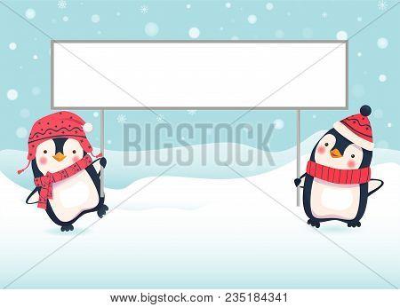 Penguin Cartoon Illustration. Two Penguins Holding Banner
