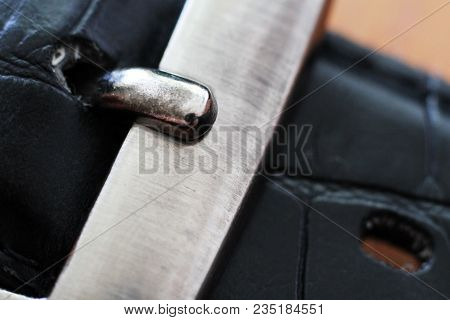 Black Leather Belt, Strap With Metal Buckle So Close