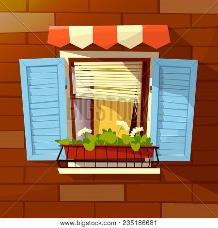 House Facade Vector Illustration Of Window With Wooden Shutters, Sunblind Awning And Flowerpot. Mode