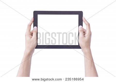 Isolate Hand Hold Tablet In Vertical With Clipping Path