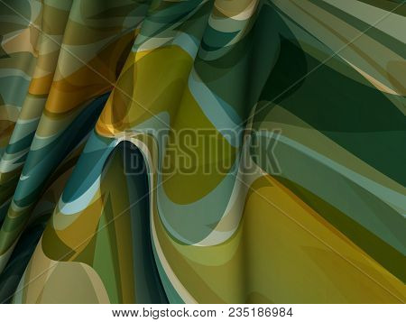 Beautiful Color Satin Fabric For Drapery Abstract Background. Camouflage Silk.