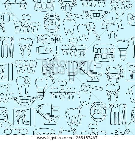 Dental Seamless Pattern With Outline Icons Of Clinic Services Dentistry Orthodontics Oral Health Car
