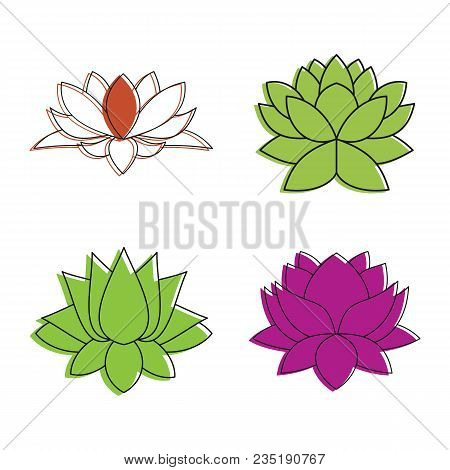 Lotus Flower Icon Set. Color Outline Set Of Lotus Flower Vector Icons For Web Design Isolated On Whi