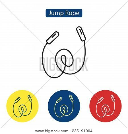 Jump Rope Fit Outline Icons Of Skipping Rope. Sports Tool For Fitness Jumping Exercises. Flat Symbol