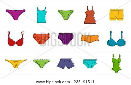Underwear Icon Set. Color Outline Set Of Underwear Vector Icons For Web Design Isolated On White Bac