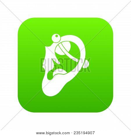 Human Ear With Piercing Icon Digital Green For Any Design Isolated On White Vector Illustration