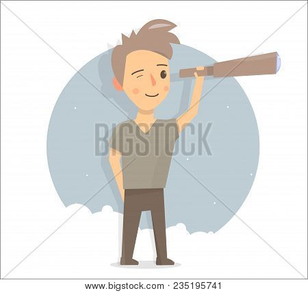 Young Researcher. Boy Looks Through A Telescope. Young Researcher. Funny Animation Style. Illustrati