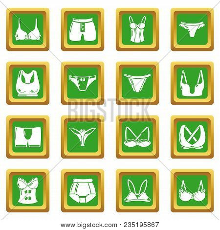 Underwear Types Icons Set Vector Green Square Isolated On White Background
