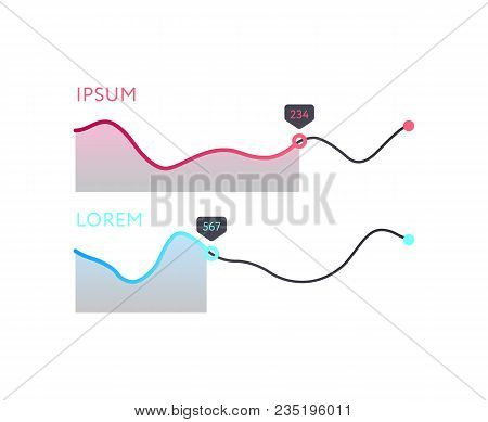 Stock Index Diagram Isolated On White Background. Infographic Element For Business Presentation Vect