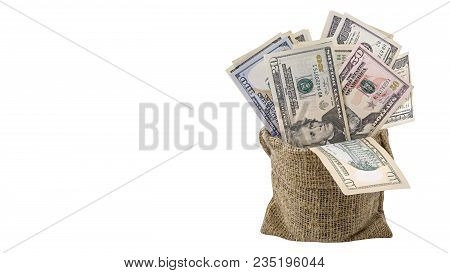 American Money  5,10, 20, 50, New 100 Dollar Bill In Bag Isolated On White Background Clipping Path.