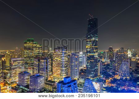 Night Of The Metropolitan Bangkok City Downtown Cityscape Urban Skyline  Thailand In  2017 - Citysca