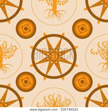 Buddhist Holiday - Vesak. The Concept Of The Event. Seamless Pattern. Bodhi Tree And Dharmachakra Is