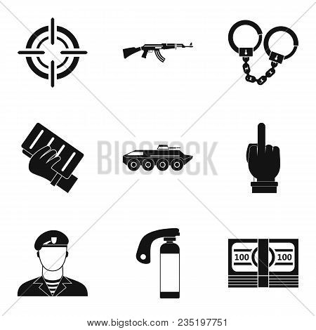 Hostility Icons Set. Simple Set Of 9 Hostility Vector Icons For Web Isolated On White Background