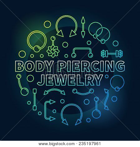 Body Piercing Colored Jewelry Vector Illustration Made With Cute Creative Piercings Line Icons On Da
