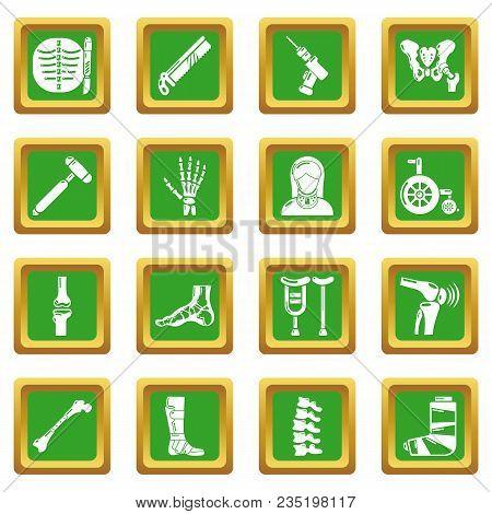 Orthopedist Bone Tools Icons Set Vector Green Square Isolated On White Background