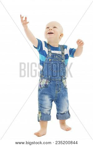 Baby Boy Raising Hand, Happy Toddler Child Looking Up And Raise Arm, Kid Isolated On White Backgroun