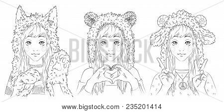 Portraits Of Cute Young Women In Animal Hats. Girl In Cat Hat And Paw Gloves. Girl In Bear Hat Makin