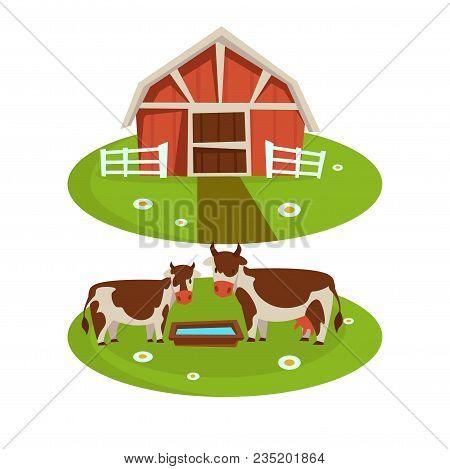 Farm Household Or Farmer Agriculture And Cattle Farming Flat Cartoon Icons. Vector Design Of Farmer