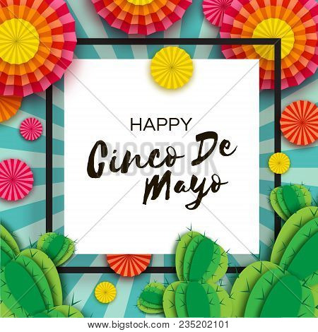 Happy cinco de mayo greeting card vector photo bigstock happy cinco de mayo greeting card colorful orange paper fan and cactus in paper cut m4hsunfo