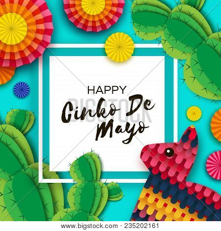 Happy cinco de mayo greeting card vector photo bigstock happy cinco de mayo greeting card colorful paper fan funny pinata and cactus in m4hsunfo