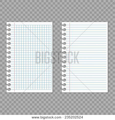 Realistic White Sheets Of Paper. Notebook Paper. Sheets Of Paper On A Transparent Background.