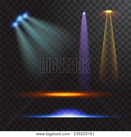 Vector Illustration Of Light Sources, Concert Lighting, Stage Spotlights Set. Concert Spotlight With