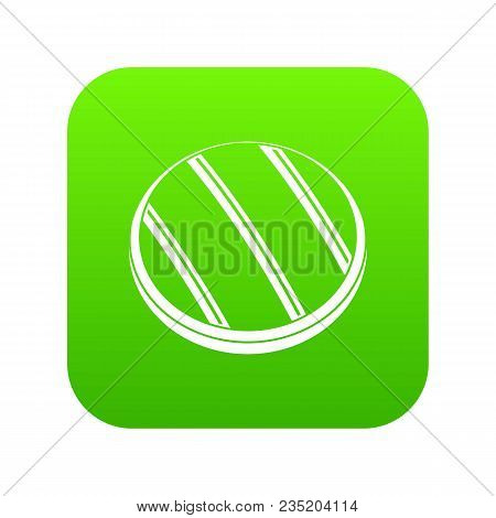 Grilled Round Beef Steak Icon Digital Green For Any Design Isolated On White Vector Illustration