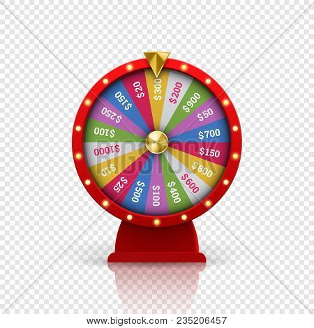 Wheel Of Fortune Roulette For Gambling Lottery Game. Vector Gamble Game Of Chance Disk With Win-win