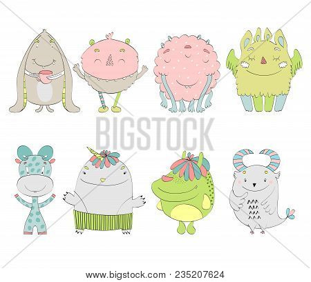 Set Of Cartoon Cute Monsters On White Background