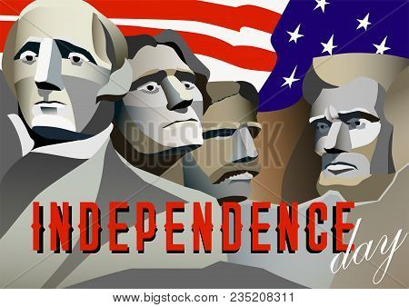 Usa Independence Day Poster. Rushmore Monument, Presidents, George Washington, Thomas Jefferson, The